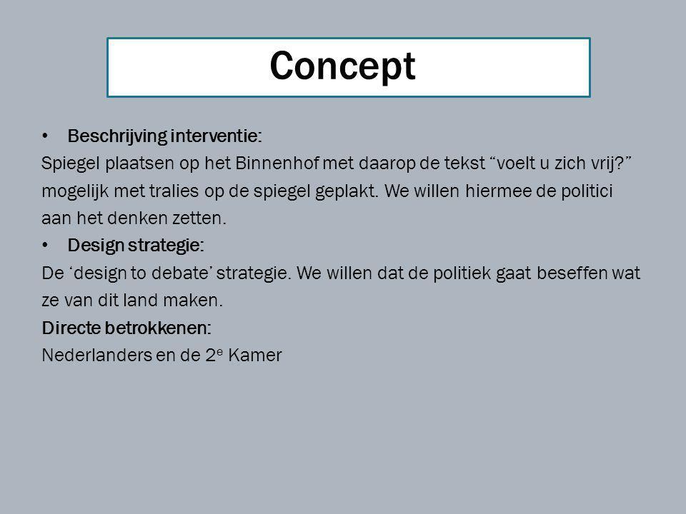 Concept Beschrijving interventie: Spiegel plaatsen op het Binnenhof met daarop de tekst voelt u zich vrij mogelijk met tralies op de spiegel geplakt.