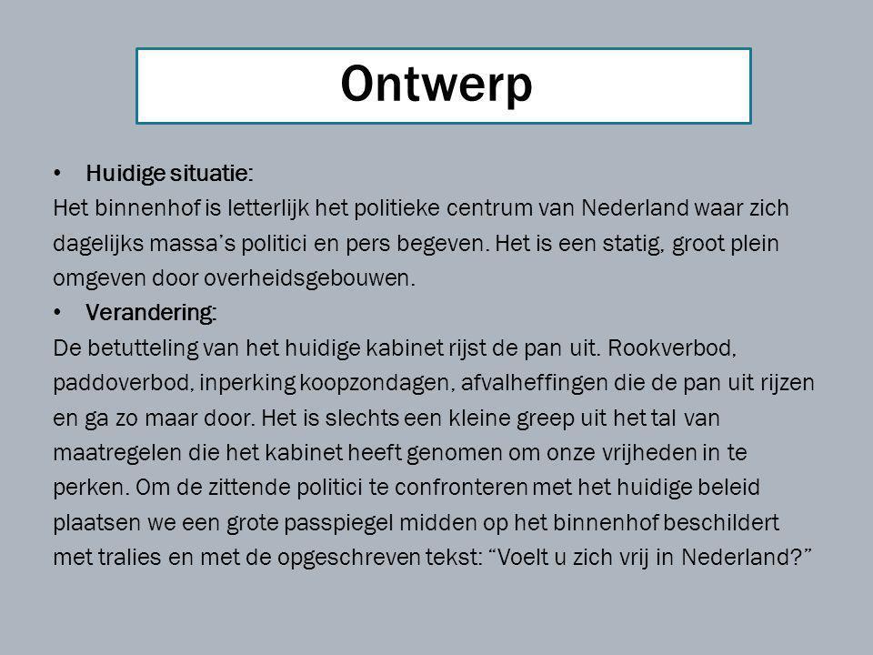 Huidige situatie: Het binnenhof is letterlijk het politieke centrum van Nederland waar zich dagelijks massa's politici en pers begeven. Het is een sta