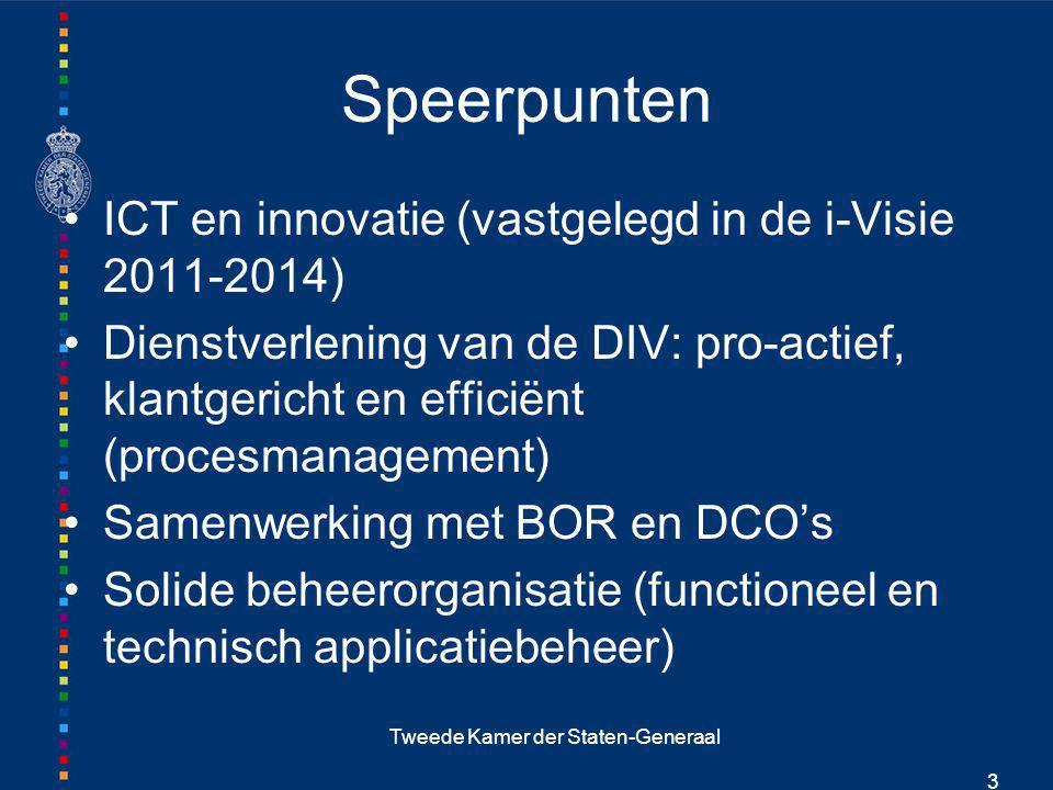 Tweede Kamer der Staten-Generaal 3 Speerpunten ICT en innovatie (vastgelegd in de i-Visie 2011-2014) Dienstverlening van de DIV: pro-actief, klantgeri