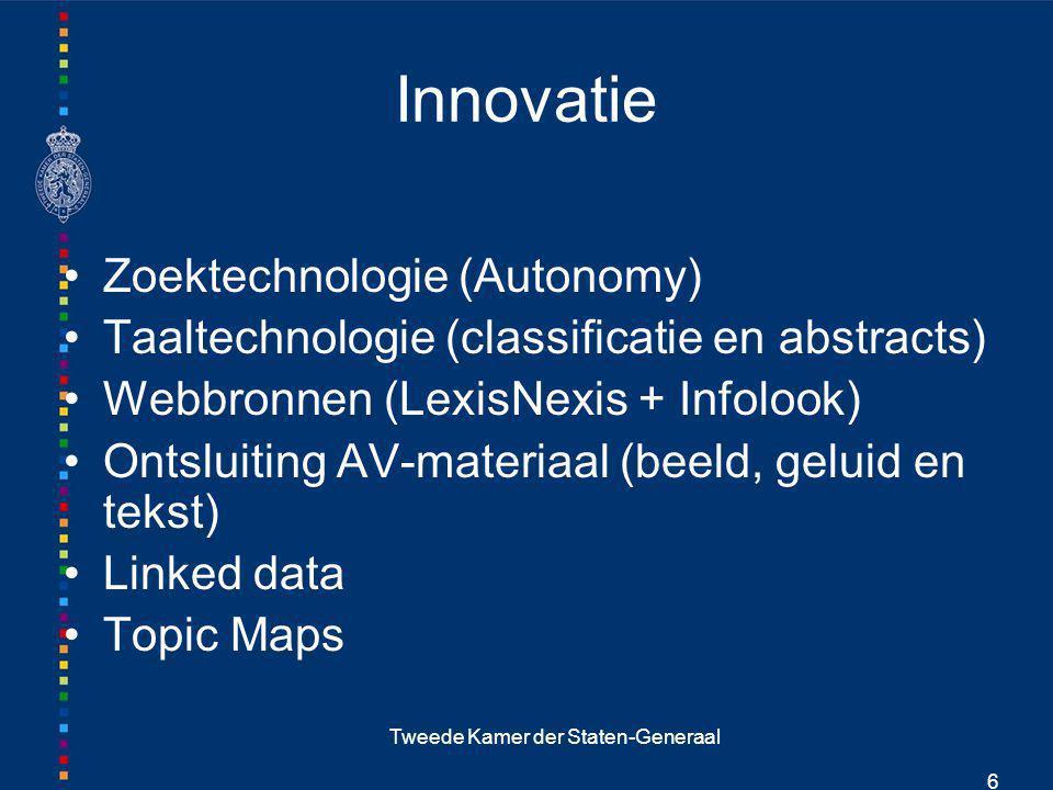 Tweede Kamer der Staten-Generaal 6 Innovatie Zoektechnologie (Autonomy) Taaltechnologie (classificatie en abstracts) Webbronnen (LexisNexis + Infolook