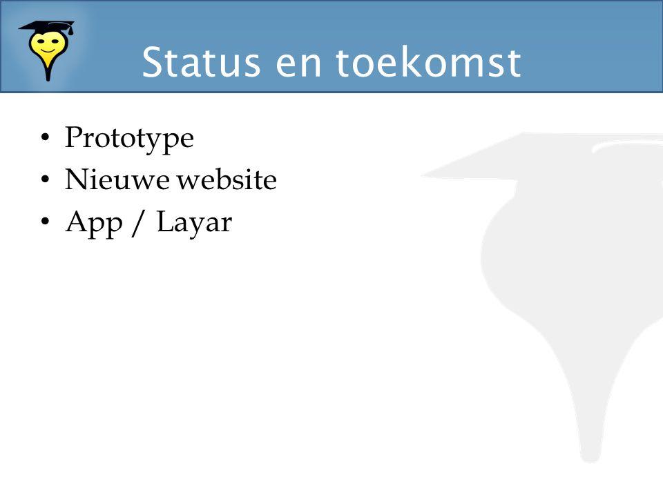 Status en toekomst Prototype Nieuwe website App / Layar