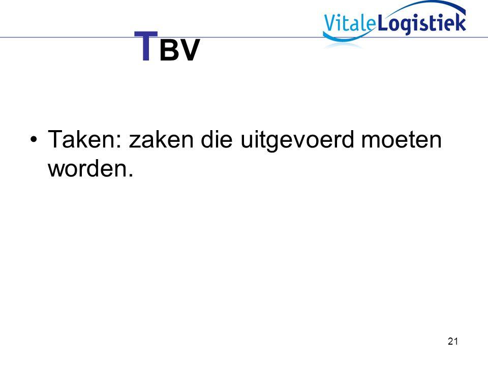 21 T BV Taken: zaken die uitgevoerd moeten worden.