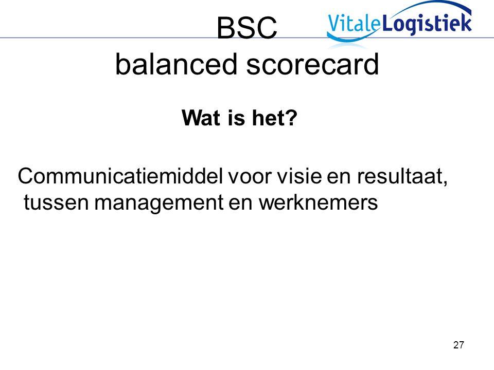 27 BSC balanced scorecard Wat is het? Communicatiemiddel voor visie en resultaat, tussen management en werknemers