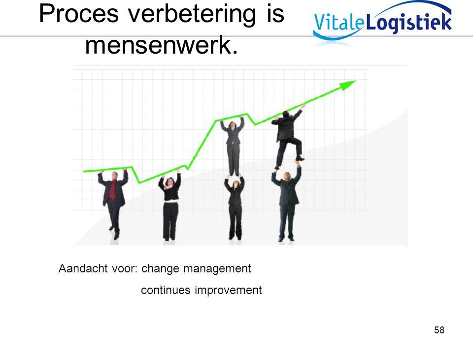 58 Aandacht voor: change management continues improvement Proces verbetering is mensenwerk.