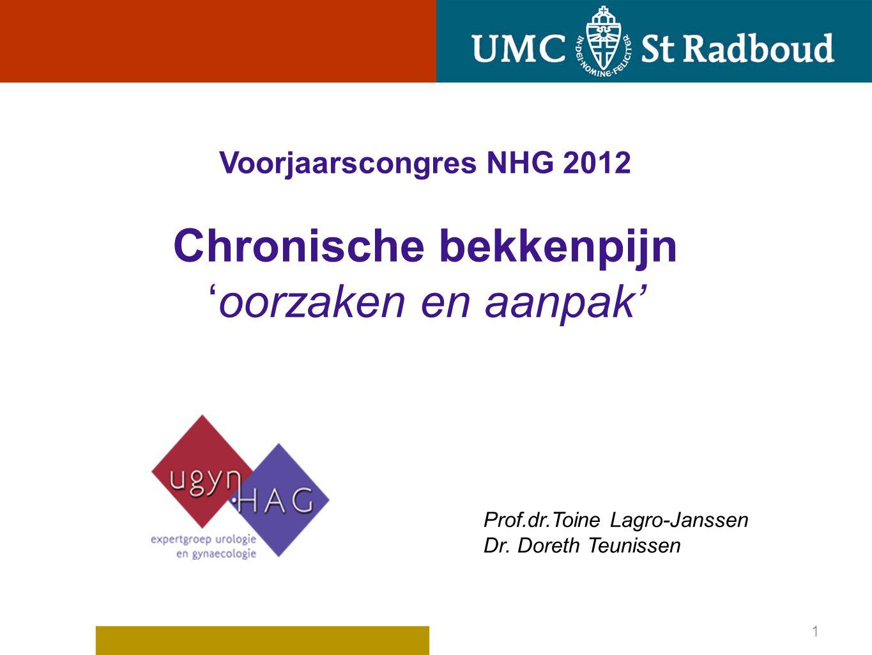Voorjaarscongres NHG 2012 Chronische bekkenpijn 'oorzaken en aanpak' Prof.dr.Toine Lagro-Janssen Dr. Doreth Teunissen 1