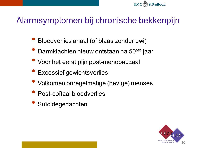 Alarmsymptomen bij chronische bekkenpijn Bloedverlies anaal (of blaas zonder uwi) Darmklachten nieuw ontstaan na 50 ste jaar Voor het eerst pijn post-