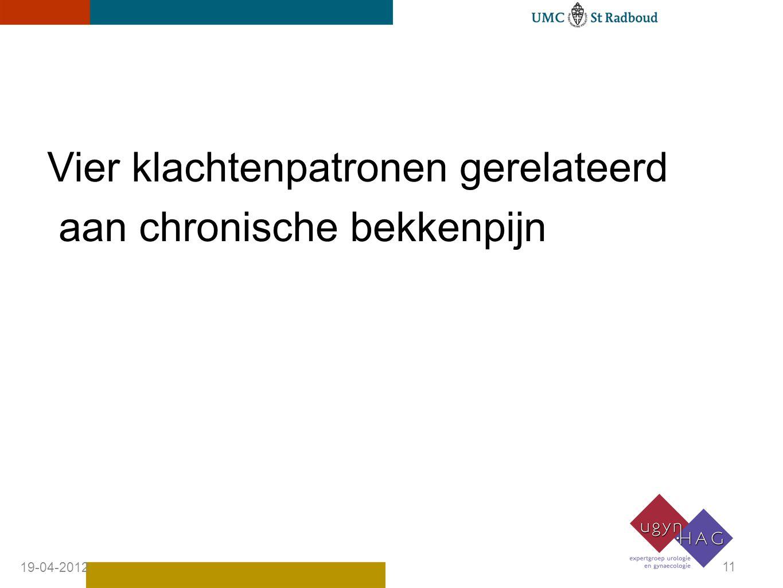 Vier klachtenpatronen gerelateerd aan chronische bekkenpijn 19-04-2012 11