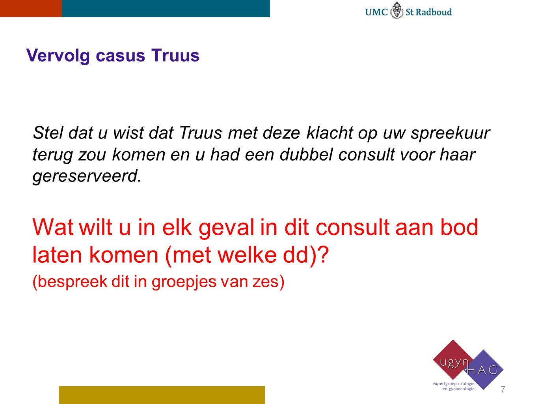 Vervolg casus Truus Stel dat u wist dat Truus met deze klacht op uw spreekuur terug zou komen en u had een dubbel consult voor haar gereserveerd. Wat