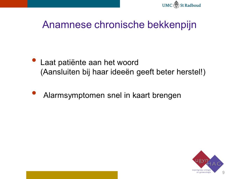 Anamnese chronische bekkenpijn Laat patiënte aan het woord (Aansluiten bij haar ideeën geeft beter herstel!) Alarmsymptomen snel in kaart brengen 9