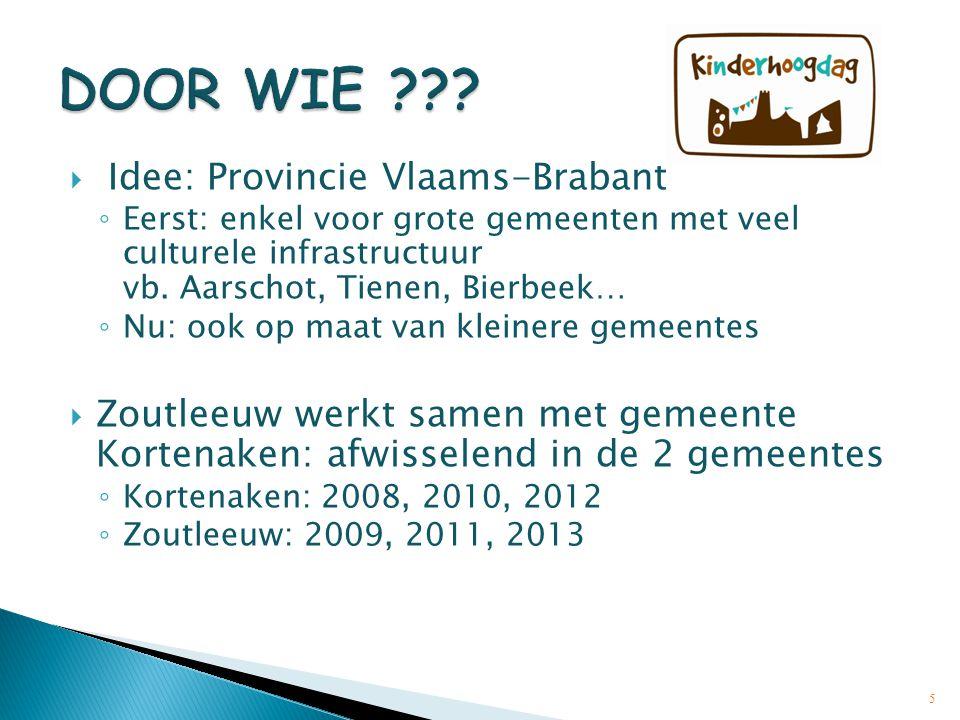  Idee: Provincie Vlaams-Brabant ◦ Eerst: enkel voor grote gemeenten met veel culturele infrastructuur vb. Aarschot, Tienen, Bierbeek… ◦ Nu: ook op ma