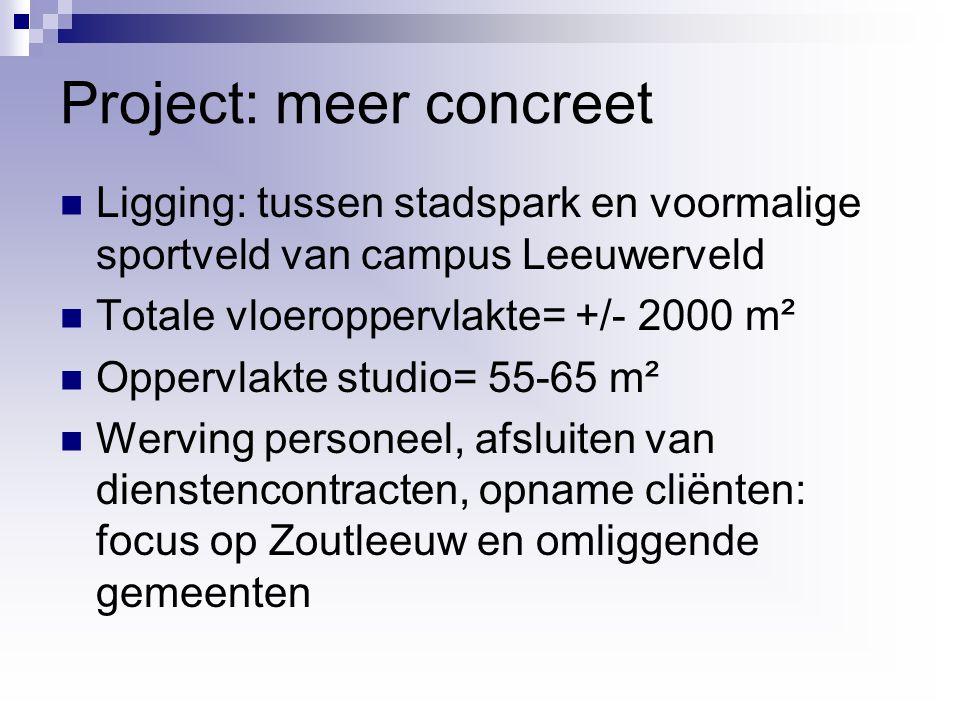Project: meer concreet Ligging: tussen stadspark en voormalige sportveld van campus Leeuwerveld Totale vloeroppervlakte= +/- 2000 m² Oppervlakte studio= 55-65 m² Werving personeel, afsluiten van dienstencontracten, opname cliënten: focus op Zoutleeuw en omliggende gemeenten