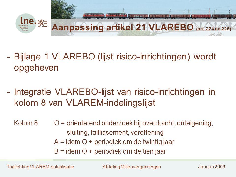 Toelichting VLAREM-actualisatieAfdeling MilieuvergunningenJanuari 2009 Aanpassing artikel 21 VLAREBO (art.