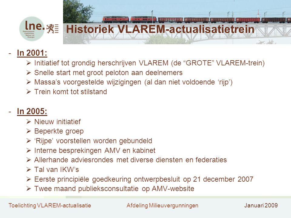 Toelichting VLAREM-actualisatieAfdeling MilieuvergunningenJanuari 2009 Historiek VLAREM-actualisatietrein -In 2001:  Initiatief tot grondig herschrijven VLAREM (de GROTE VLAREM-trein)  Snelle start met groot peloton aan deelnemers  Massa's voorgestelde wijzigingen (al dan niet voldoende 'rijp')  Trein komt tot stilstand -In 2005:  Nieuw initiatief  Beperkte groep  'Rijpe' voorstellen worden gebundeld  Interne besprekingen AMV en kabinet  Allerhande adviesrondes met diverse diensten en federaties  Tal van IKW's  Eerste principiële goedkeuring ontwerpbesluit op 21 december 2007  Twee maand publieksconsultatie op AMV-website
