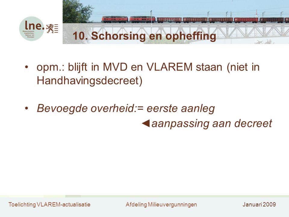 Toelichting VLAREM-actualisatieAfdeling MilieuvergunningenJanuari 2009 10.