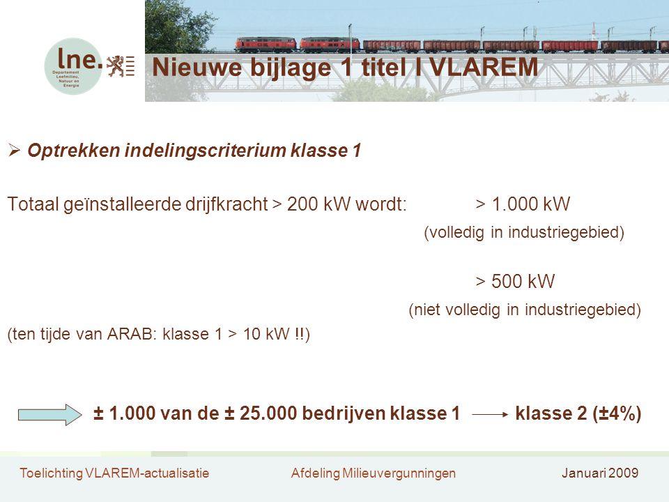 Toelichting VLAREM-actualisatieAfdeling MilieuvergunningenJanuari 2009 Nieuwe bijlage 1 titel I VLAREM  Optrekken indelingscriterium klasse 1 Totaal geïnstalleerde drijfkracht > 200 kW wordt:> 1.000 kW (volledig in industriegebied) > 500 kW (niet volledig in industriegebied) (ten tijde van ARAB: klasse 1 > 10 kW !!) ± 1.000 van de ± 25.000 bedrijven klasse 1klasse 2 (±4%)