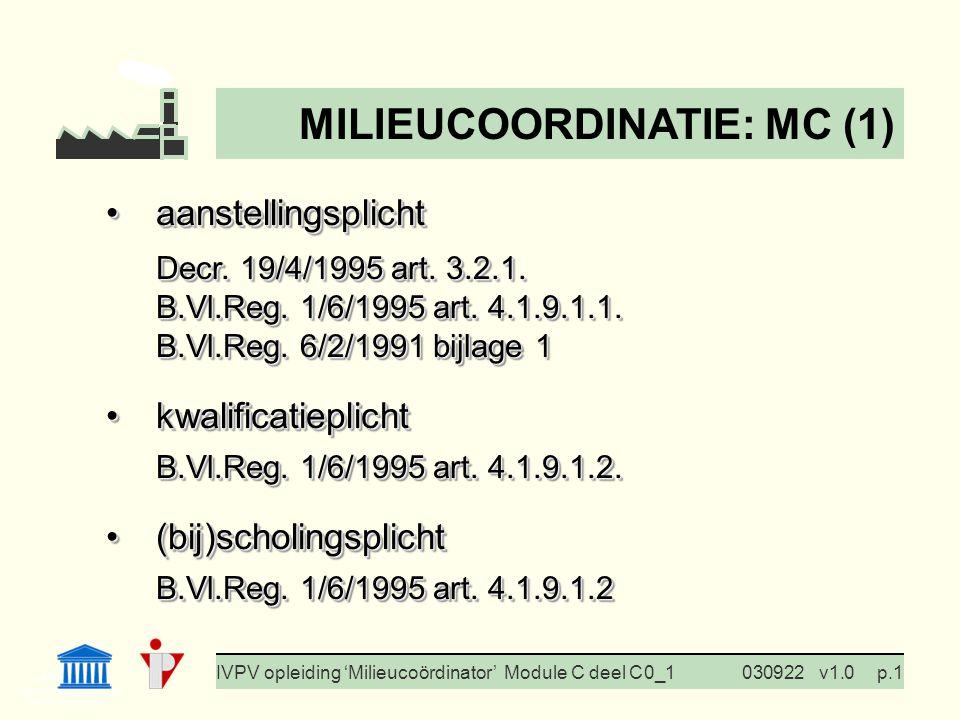 I. Milieubeleid Cursus BedrijfsMzorg Prof. G. Van Eetvelde IVPV opleiding 'Milieucoördinator' Module C deel C 0_1030922v1.0p.1 aanstellingsplichtaanst