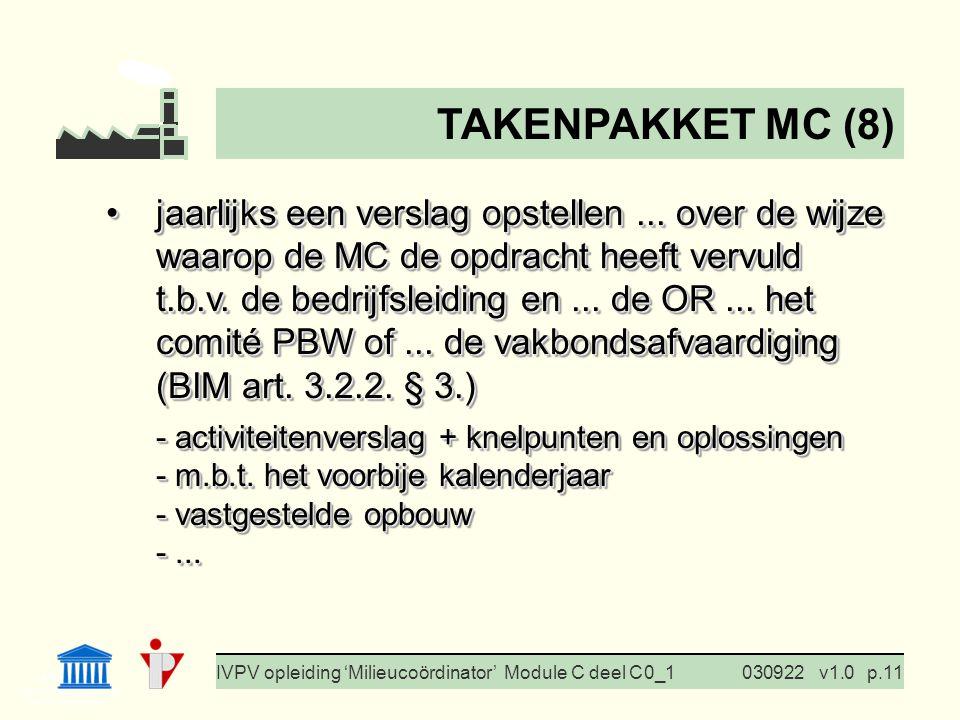 I. Milieubeleid Cursus BedrijfsMzorg Prof. G. Van Eetvelde IVPV opleiding 'Milieucoördinator' Module C deel C 0_1030922v1.0p.11 jaarlijks een verslag