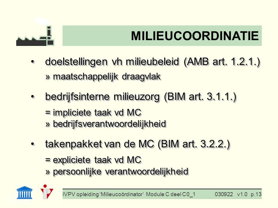 I. Milieubeleid Cursus BedrijfsMzorg Prof. G. Van Eetvelde IVPV opleiding 'Milieucoördinator' Module C deel C 0_1030922v1.0p.13 doelstellingen vh mili