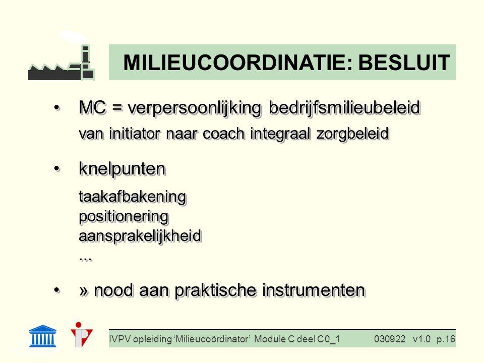I. Milieubeleid Cursus BedrijfsMzorg Prof. G. Van Eetvelde IVPV opleiding 'Milieucoördinator' Module C deel C 0_1030922v1.0p.16 MC = verpersoonlijking