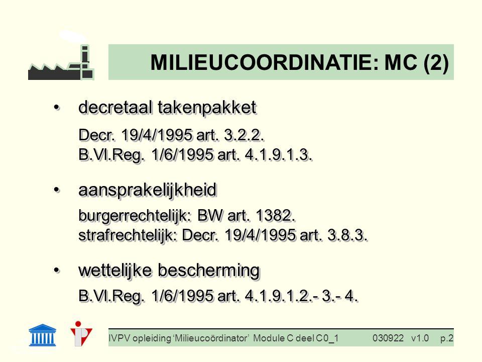 I. Milieubeleid Cursus BedrijfsMzorg Prof. G. Van Eetvelde IVPV opleiding 'Milieucoördinator' Module C deel C 0_1030922v1.0p.2 decretaal takenpakketde