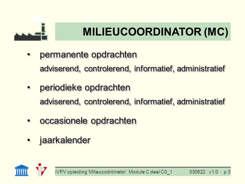 I. Milieubeleid Cursus BedrijfsMzorg Prof. G. Van Eetvelde IVPV opleiding 'Milieucoördinator' Module C deel C 0_1030922v1.0p.3 permanente opdrachtenpe