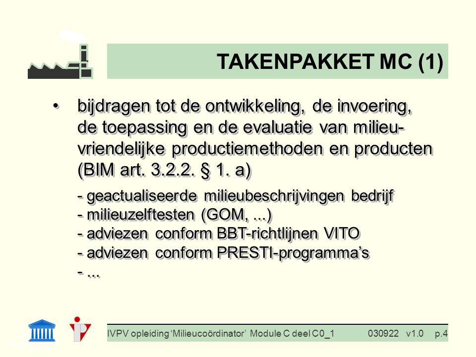I. Milieubeleid Cursus BedrijfsMzorg Prof. G. Van Eetvelde IVPV opleiding 'Milieucoördinator' Module C deel C 0_1030922v1.0p.4 bijdragen tot de ontwik
