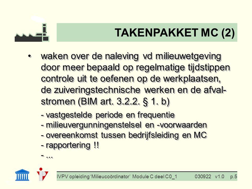 I. Milieubeleid Cursus BedrijfsMzorg Prof. G. Van Eetvelde IVPV opleiding 'Milieucoördinator' Module C deel C 0_1030922v1.0p.5 waken over de naleving
