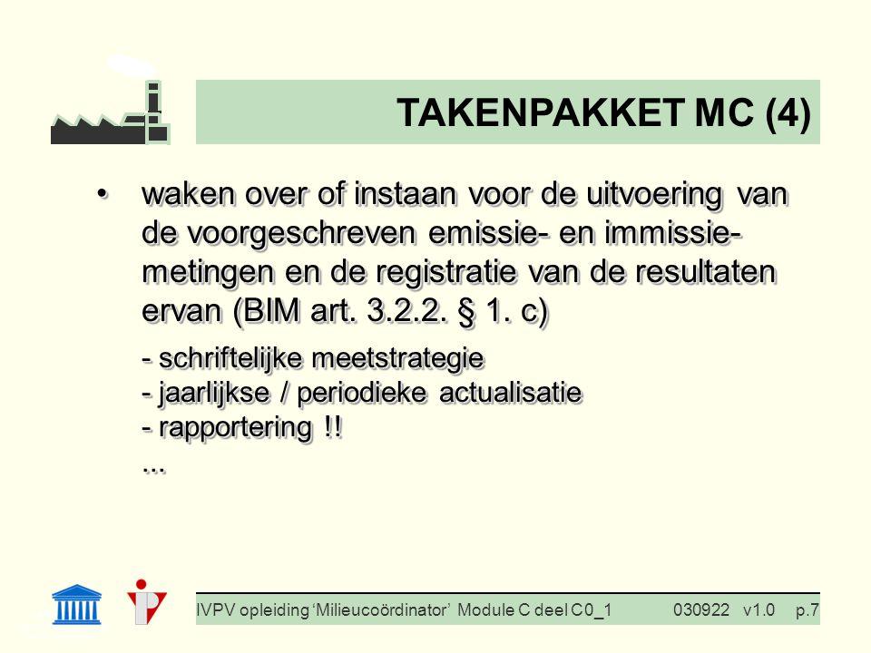 I. Milieubeleid Cursus BedrijfsMzorg Prof. G. Van Eetvelde IVPV opleiding 'Milieucoördinator' Module C deel C 0_1030922v1.0p.7 waken over of instaan v