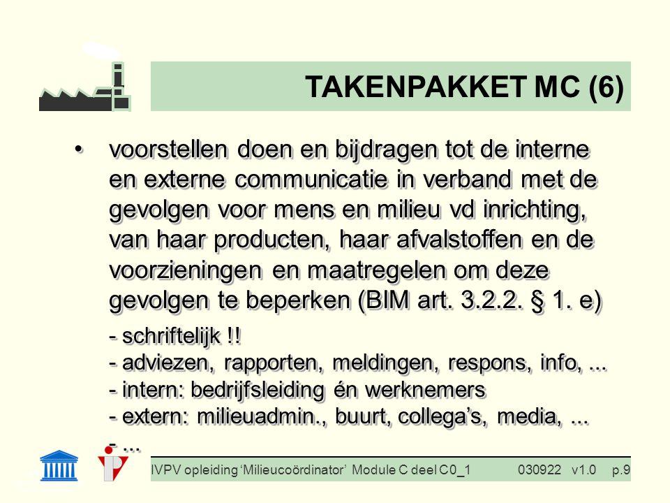 I. Milieubeleid Cursus BedrijfsMzorg Prof. G. Van Eetvelde IVPV opleiding 'Milieucoördinator' Module C deel C 0_1030922v1.0p.9 voorstellen doen en bij