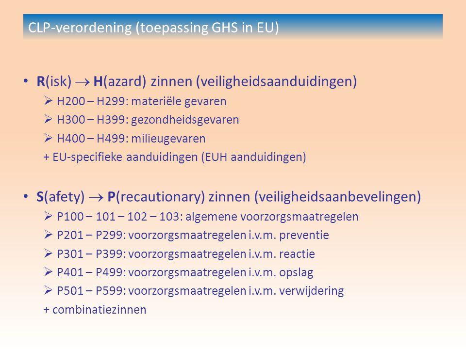 CLP-verordening (toepassing GHS in EU) R(isk)  H(azard) zinnen (veiligheidsaanduidingen)  H200 – H299: materiële gevaren  H300 – H399: gezondheidsgevaren  H400 – H499: milieugevaren + EU-specifieke aanduidingen (EUH aanduidingen) S(afety)  P(recautionary) zinnen (veiligheidsaanbevelingen)  P100 – 101 – 102 – 103: algemene voorzorgsmaatregelen  P201 – P299: voorzorgsmaatregelen i.v.m.