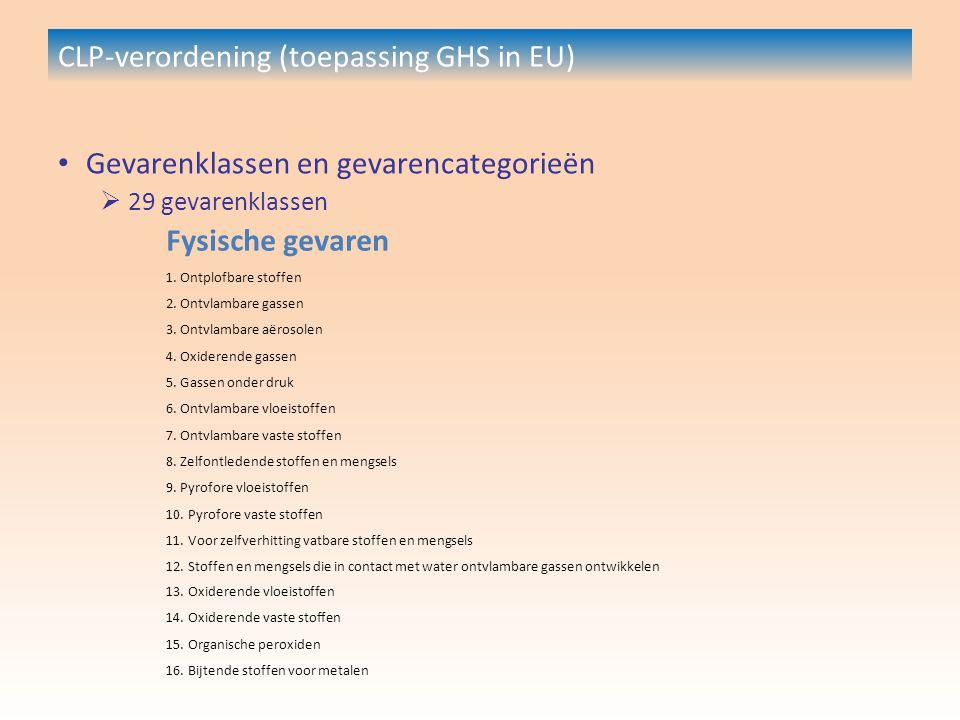 CLP-verordening (toepassing GHS in EU) Gevarenklassen en gevarencategorieën  29 gevarenklassen Fysische gevaren 1.