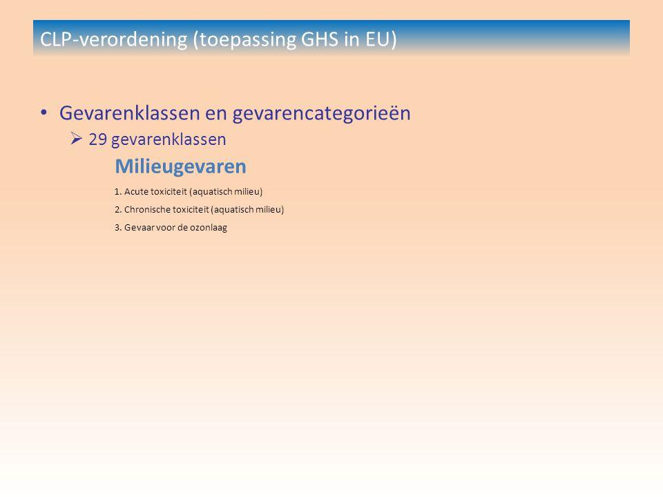 CLP-verordening (toepassing GHS in EU) Gevarenklassen en gevarencategorieën  29 gevarenklassen Milieugevaren 1.
