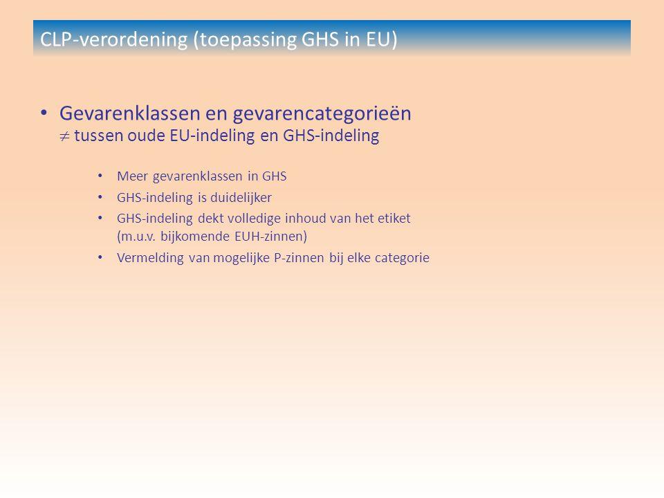 CLP-verordening (toepassing GHS in EU) Gevarenklassen en gevarencategorieën  tussen oude EU-indeling en GHS-indeling Meer gevarenklassen in GHS GHS-indeling is duidelijker GHS-indeling dekt volledige inhoud van het etiket (m.u.v.