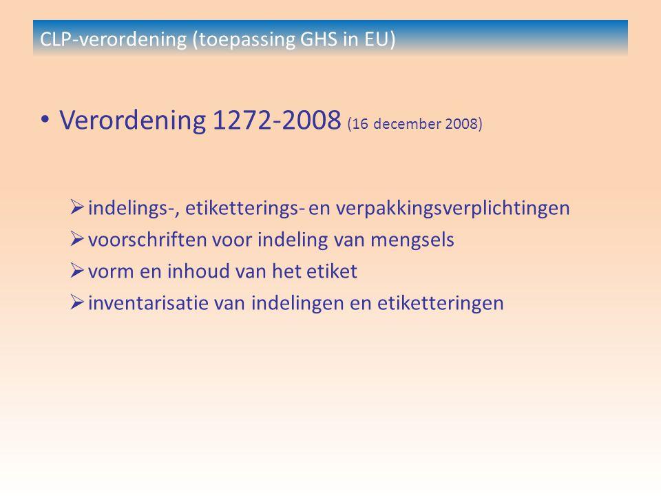 CLP-verordening (toepassing GHS in EU) Verordening 1272-2008 (16 december 2008)  indelings-, etiketterings- en verpakkingsverplichtingen  voorschriften voor indeling van mengsels  vorm en inhoud van het etiket  inventarisatie van indelingen en etiketteringen