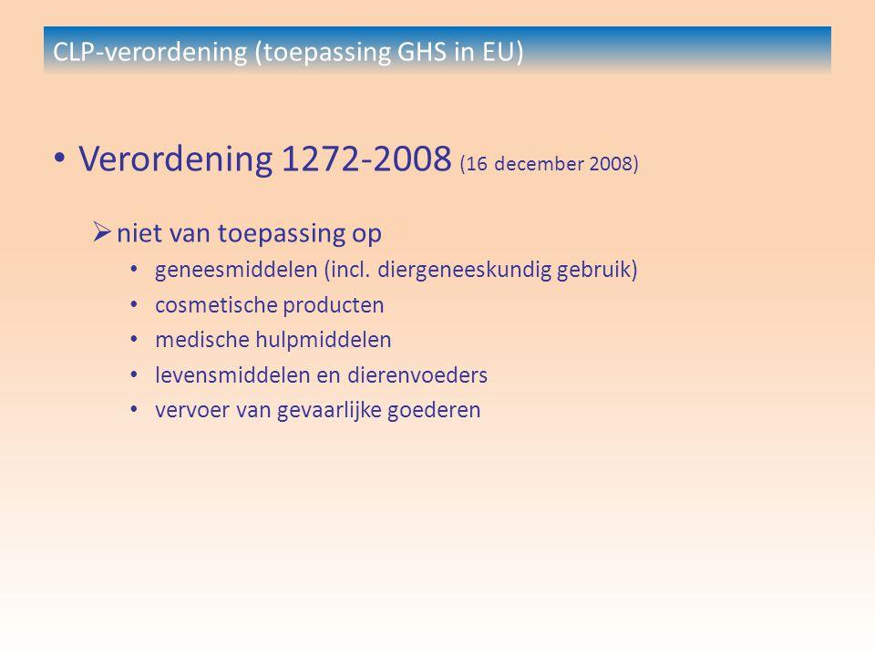 CLP-verordening (toepassing GHS in EU) Verordening 1272-2008 (16 december 2008)  niet van toepassing op geneesmiddelen (incl.