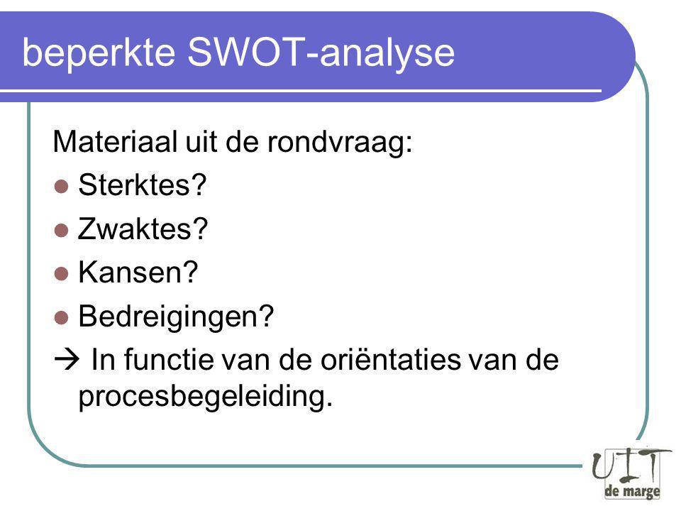 beperkte SWOT-analyse Materiaal uit de rondvraag: Sterktes.