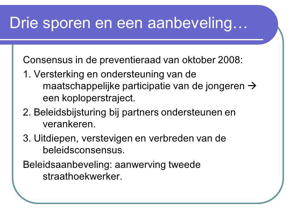 Drie sporen en een aanbeveling… Consensus in de preventieraad van oktober 2008: 1.