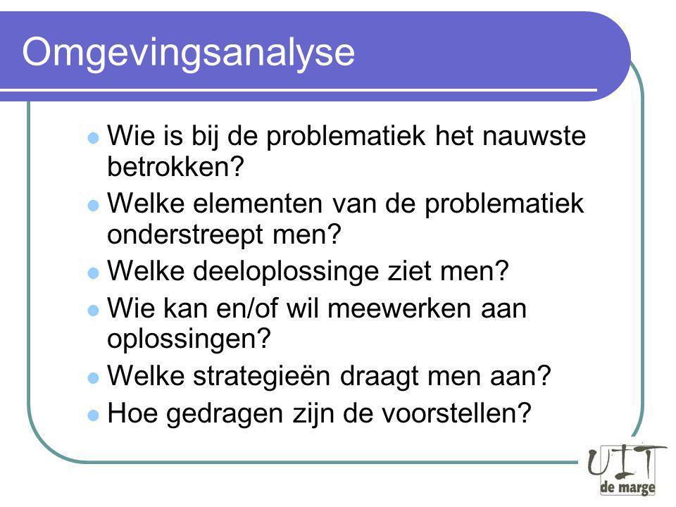 Doelen van de rondvraag Een antwoord zoeken op deze vragen: Welke beleidsadviezen kan Uit De Marge voorstellen aan het stadsbestuur.