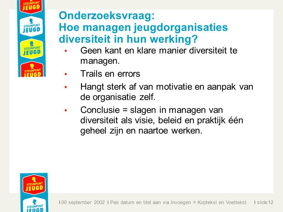 ll slidel Onderzoeksvraag: Hoe managen jeugdorganisaties diversiteit in hun werking? Geen kant en klare manier diversiteit te managen. Trails en error