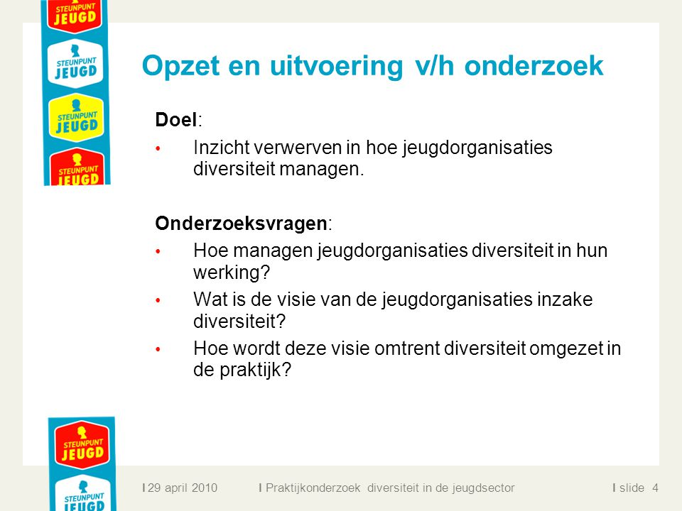 ll slidel Opzet en uitvoering v/h onderzoek Doel: Inzicht verwerven in hoe jeugdorganisaties diversiteit managen. Onderzoeksvragen: Hoe managen jeugdo