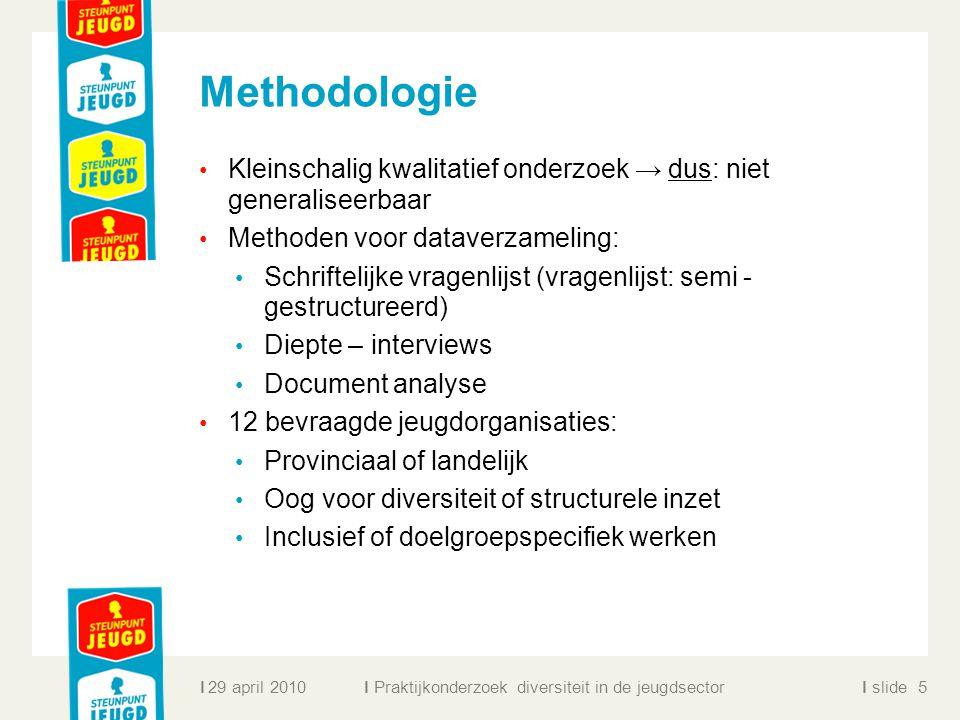ll slidel Methodologie Kleinschalig kwalitatief onderzoek → dus: niet generaliseerbaar Methoden voor dataverzameling: Schriftelijke vragenlijst (vrage