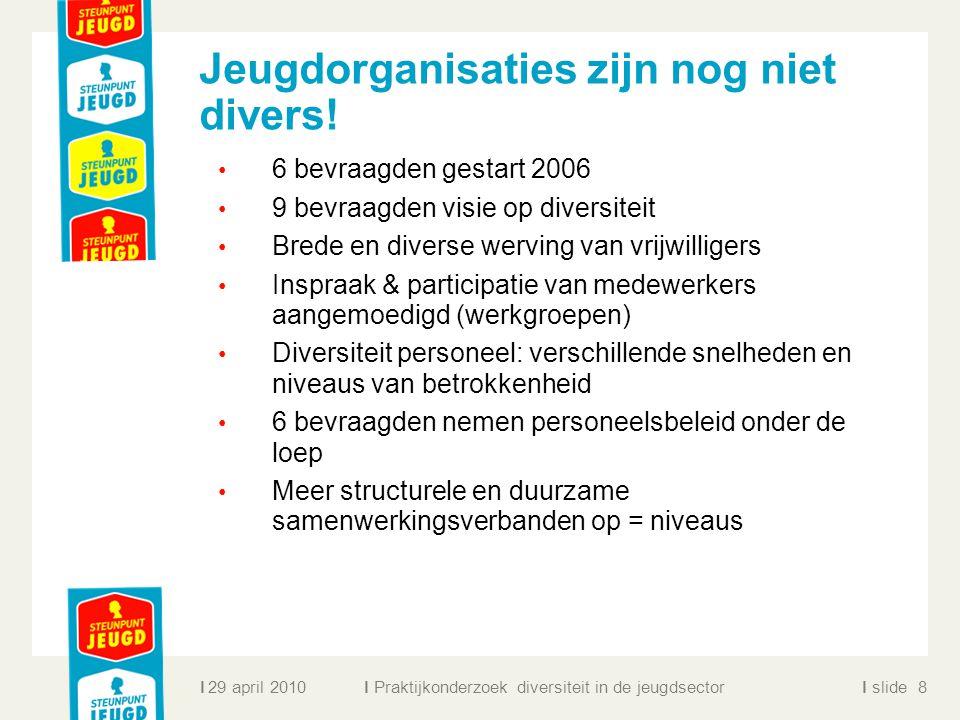 ll slidel Jeugdorganisaties zijn nog niet divers! 6 bevraagden gestart 2006 9 bevraagden visie op diversiteit Brede en diverse werving van vrijwillige