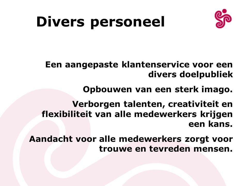 Divers personeel Een aangepaste klantenservice voor een divers doelpubliek Opbouwen van een sterk imago. Verborgen talenten, creativiteit en flexibili