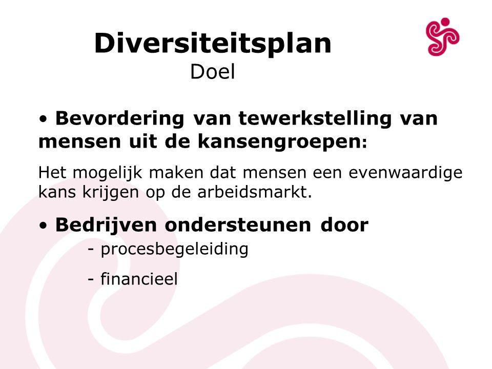 Diversiteitsplan Doel Bevordering van tewerkstelling van mensen uit de kansengroepen : Het mogelijk maken dat mensen een evenwaardige kans krijgen op
