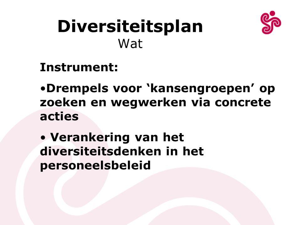 Diversiteitsplan Wat Instrument: Drempels voor 'kansengroepen' op zoeken en wegwerken via concrete acties Verankering van het diversiteitsdenken in he