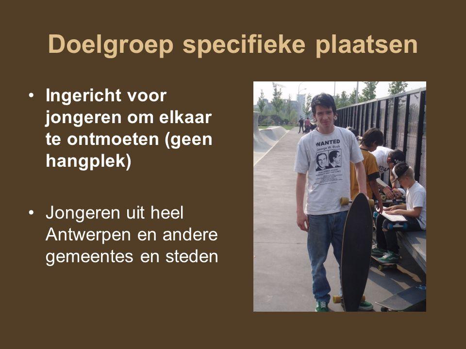 Doelgroep specifieke plaatsen Ingericht voor jongeren om elkaar te ontmoeten (geen hangplek) Jongeren uit heel Antwerpen en andere gemeentes en steden