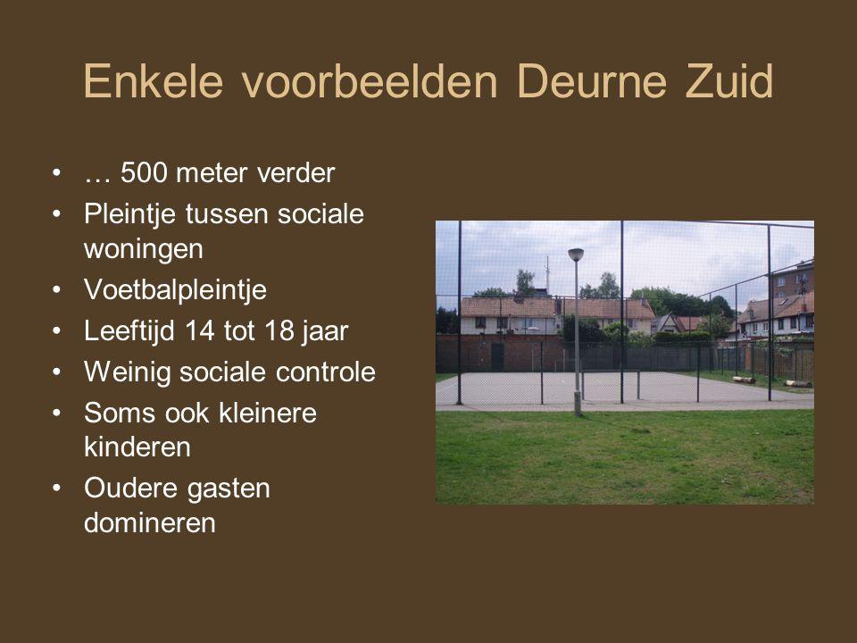 Enkele voorbeelden Deurne Zuid … 500 meter verder Pleintje tussen sociale woningen Voetbalpleintje Leeftijd 14 tot 18 jaar Weinig sociale controle Soms ook kleinere kinderen Oudere gasten domineren