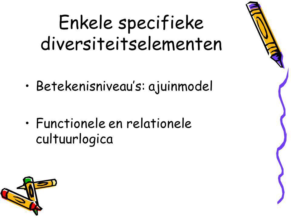 Enkele specifieke diversiteitselementen Betekenisniveau's: ajuinmodel Functionele en relationele cultuurlogica
