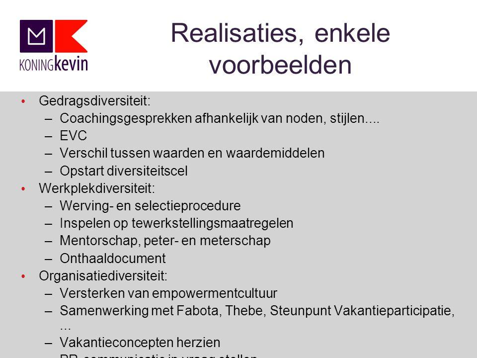 Realisaties, enkele voorbeelden Gedragsdiversiteit: –Coachingsgesprekken afhankelijk van noden, stijlen....