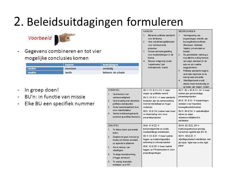 2. Beleidsuitdagingen formuleren Voorbeeld -In groep doen.